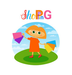 little girl holding shopping bags small child vector image