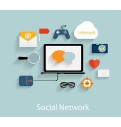Social Network Concept Flat vector image