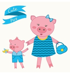 Mother pig and piglet vector image