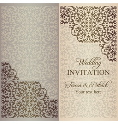 Baroque wedding invitation patina vector
