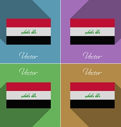 Flags iraq set of colors flat design and long vector