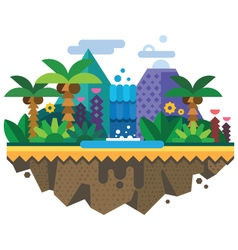 Uninhabited island jungle vector