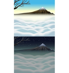 Nature scene with mountain and fog vector