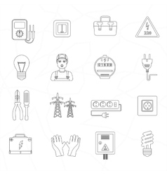 Electrician tools instruments flat thin line icons vector
