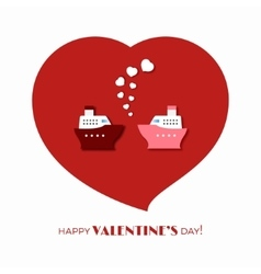 Ship love on valentine day vector