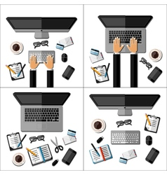 Set of modern business office workspaces vector