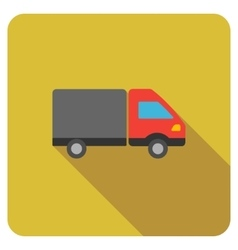 Shipment flat rounded square icon with long shadow vector