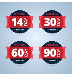 Free trial badges 14 30 60 and 90-day stickers vector image