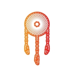 Dream catcher sign orange applique isolated vector