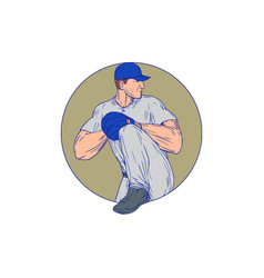 american baseball pitcher throw ball circle vector image vector image