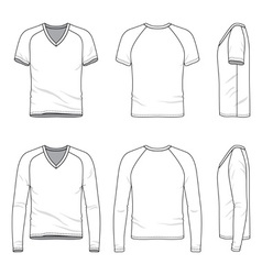Blank v-neck t-shirt and tee vector