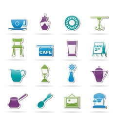 Cafe and coffeehouse icons vector image