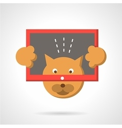 Cat with tablet flat color icon vector