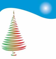 Christmas tree and hill vector image vector image
