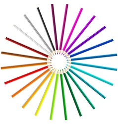 Colorful pencils as a rainbow circle on white vector