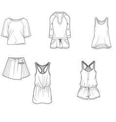 Fashion clothing tshirt skirt shirt trousers vector