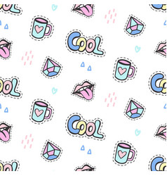fashionable girls patches seamless pattern vector image
