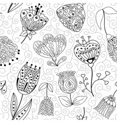Flowers doodle seamless pattern vector image