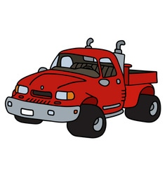 Funny red pick-up vector