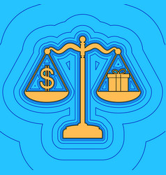Gift and dollar symbol on scales sand vector