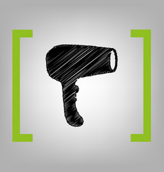 Hair dryer sign black scribble icon in vector