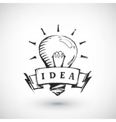 Hand drawn banner with light bulb vector image