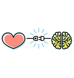 Heart and brain interactions concept vector