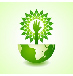 Helping hand make tree on earth vector image vector image