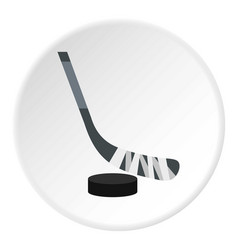 Hockey stick and puck icon circle vector