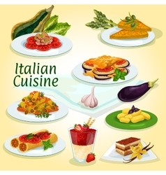 Italian cuisine main and dessert dishes icon vector