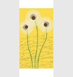 long card white dandelion vector image