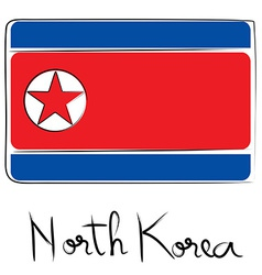 North Corea flag doodle vector image vector image