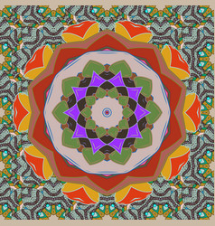 Ornate eastern mandala with colored contour art vector
