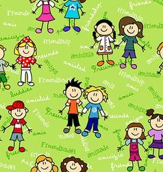 Seamless kids friendship pattern vector