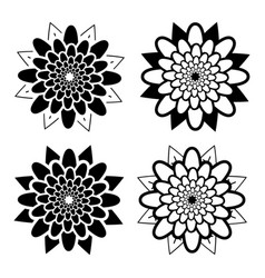 set of black and white isolated flower icons vector image vector image