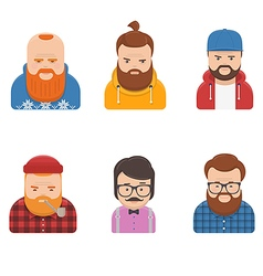 Set of Different Male Faces vector image vector image