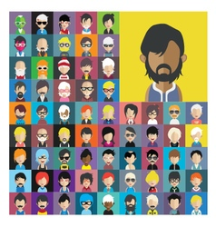 Set of people icons in flat style with faces 14 a vector