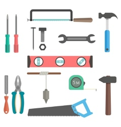 set of tools on white background vector image