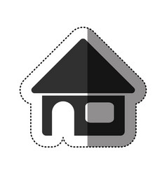 Sticker of black silhouette of house in white vector