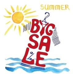 Summer big Sale letteringTee Shirtwatercolor sun vector image vector image