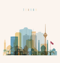 Tehran skyline detailed silhouette vector