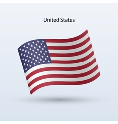 United States flag waving form vector image vector image