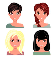 Woman beautiful face with different hairstyles vector