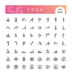 Yoga line icons set vector