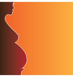 Pregnant naked woman silhouette vector