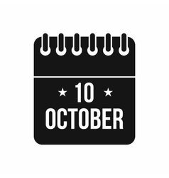 10 october calendar icon simple style vector