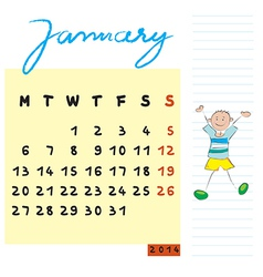 January 2014 kids calendar vector