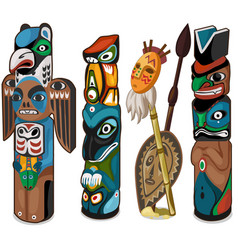 Colorful totems with faces of people and birds vector