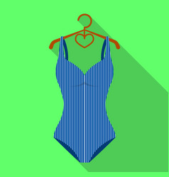 blue women stripe swimsuit clothes for swimming vector image