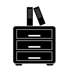 Silhouette file cabinet folder archive workplace vector